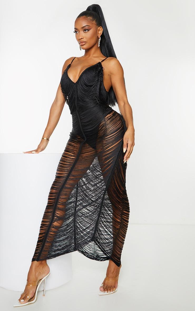 Shape Black Fringe Detail Midaxi Dress 3