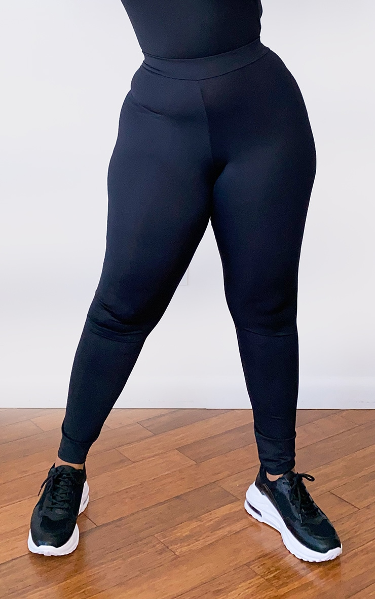 Plus Black Basic Gym Leggings 2