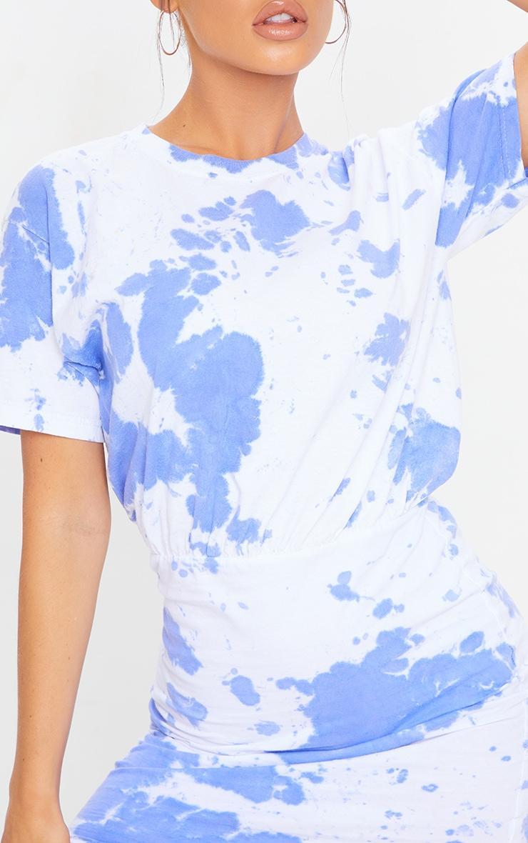Blue Tie Dye Elastic Waist T Shirt Dress 4