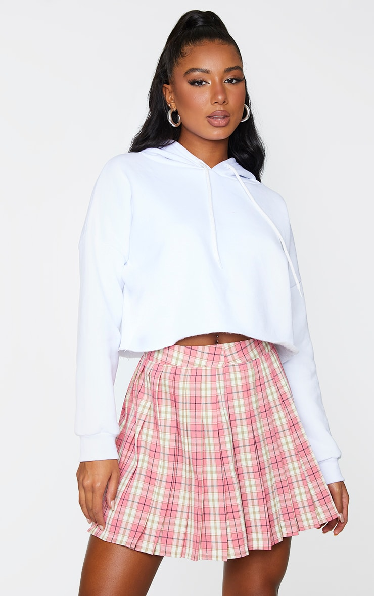 Pink Woven Check Pleated Tennis Skirt 1