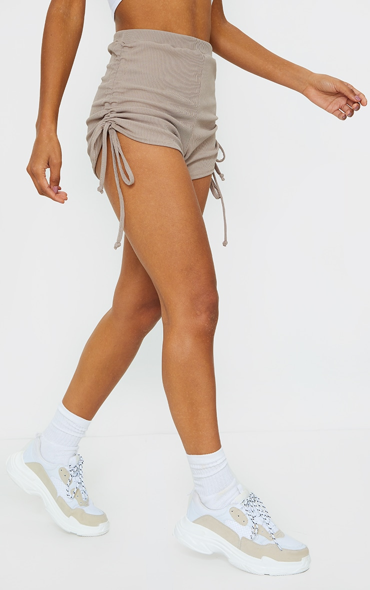 Taupe Ruched Ribbed Side Detail Hot Pants 2
