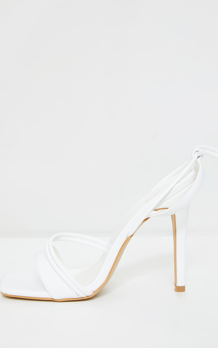 White PU Square Toe Lace Up High Heeled Sandals 3