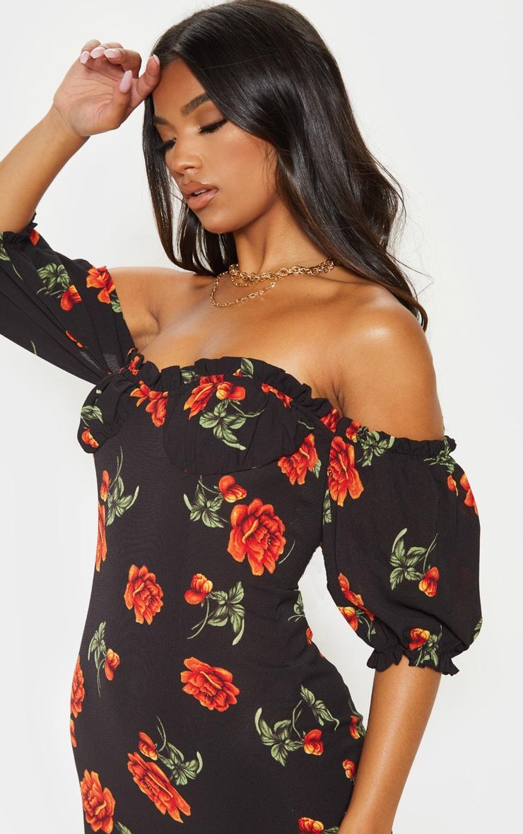 Black Floral Rose Print Ruched Cup Shift Dress 5
