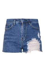 PRETTYLITTLETHING Mid Blue Wash Ripped Denim Mom Shorts 1