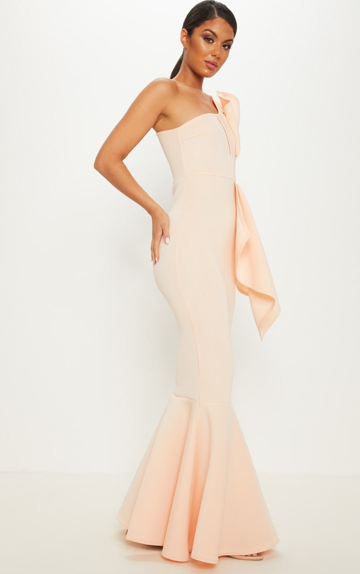Nude Bonded Scuba Pleated One Shoulder Fishtail Maxi Dress 4