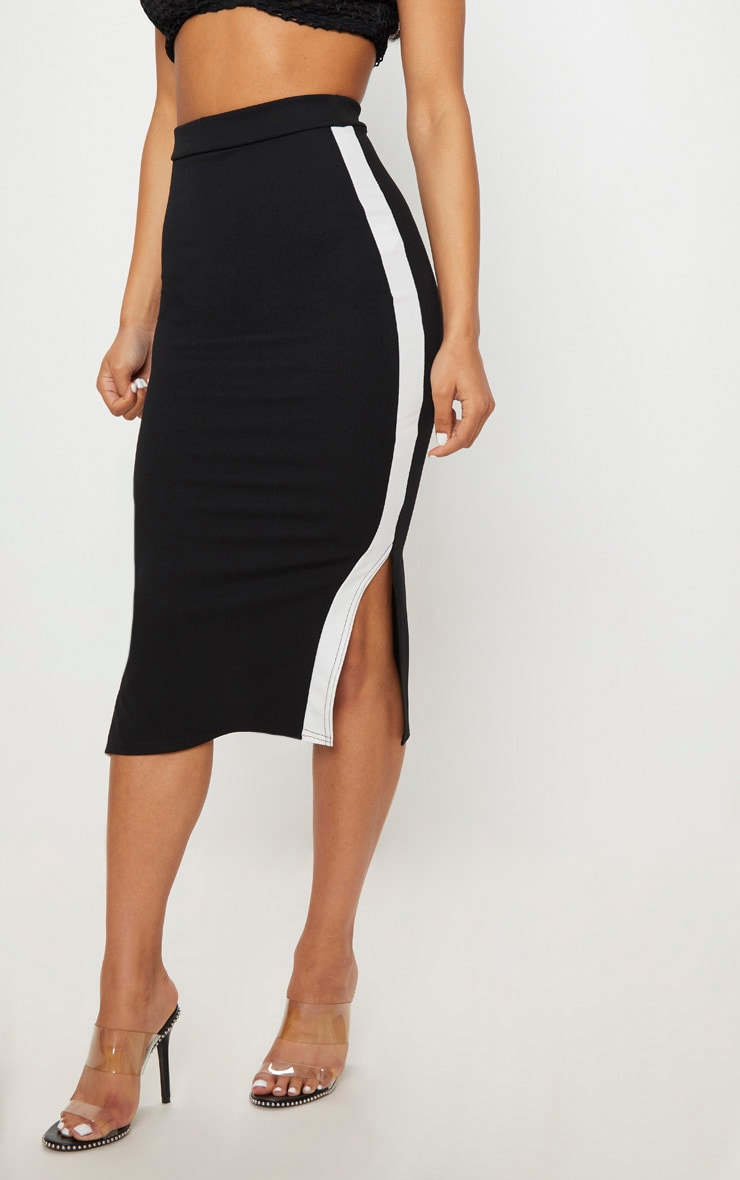 Black Contrast Side Stripe Split Hem Midi Skirt 2