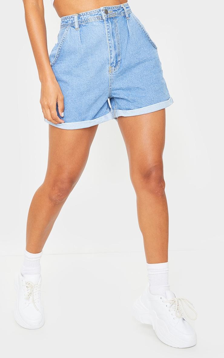Blue Mid Wash Balloon Shorts 2