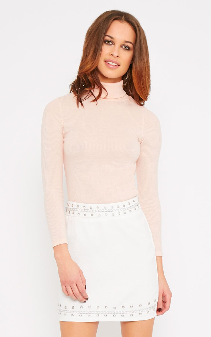 Evelyn White Chain Trim Mini Skirt -XS 1