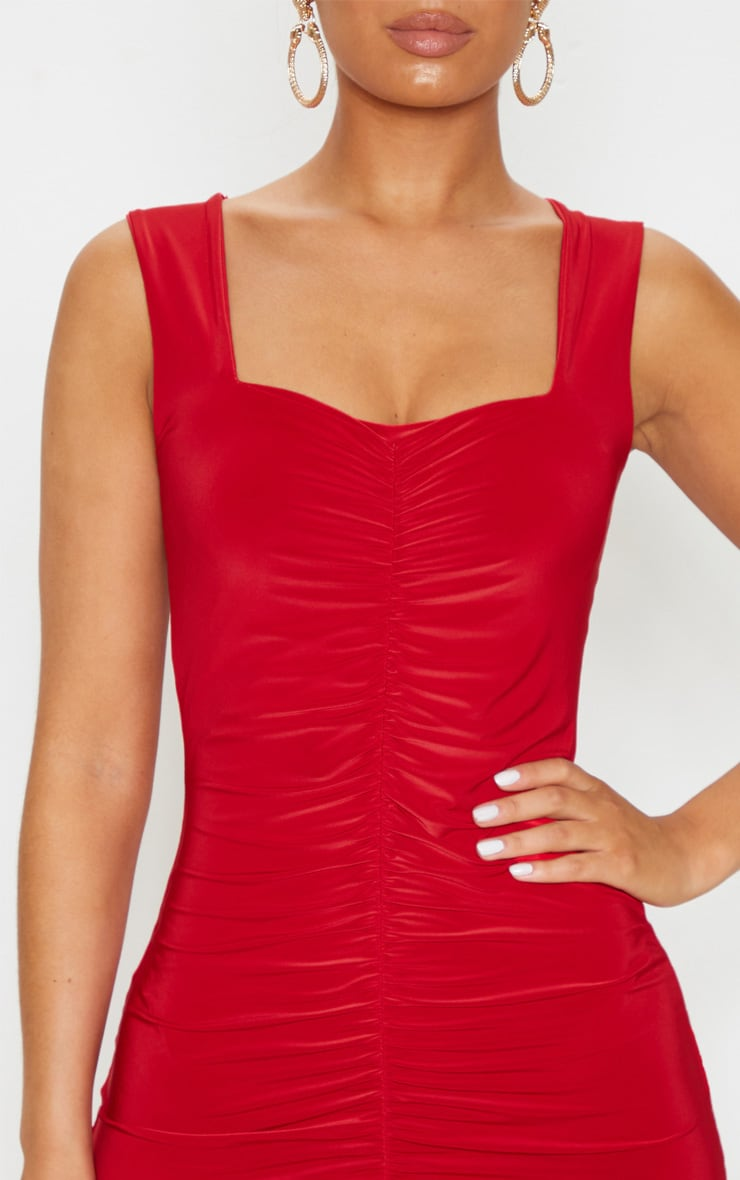 Red Slinky Ruched Front Square Neck Bodycon Dress 5
