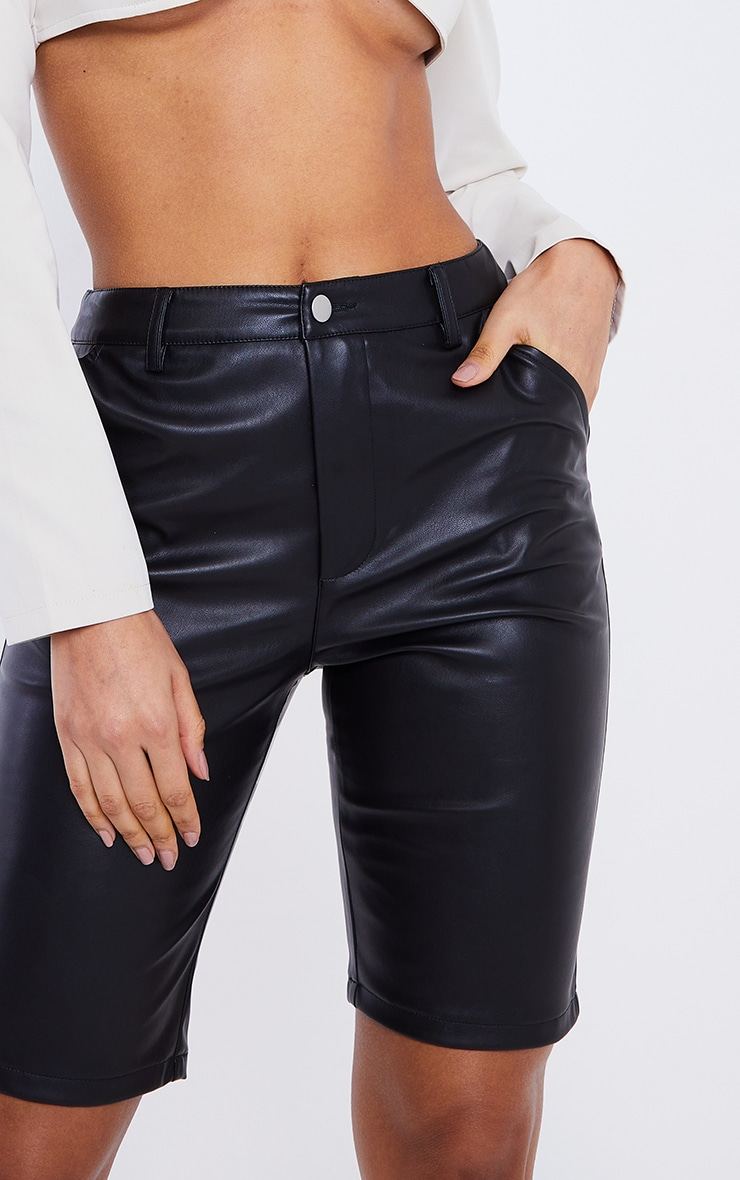 Black Faux Leather Button Up Cycle Shorts 5