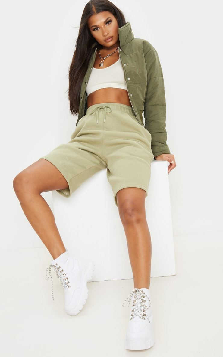 Sage Khaki Drawstring Sweat Longline Shorts 5