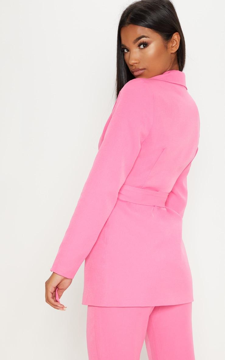 Pink Belted Longline Blazer  4
