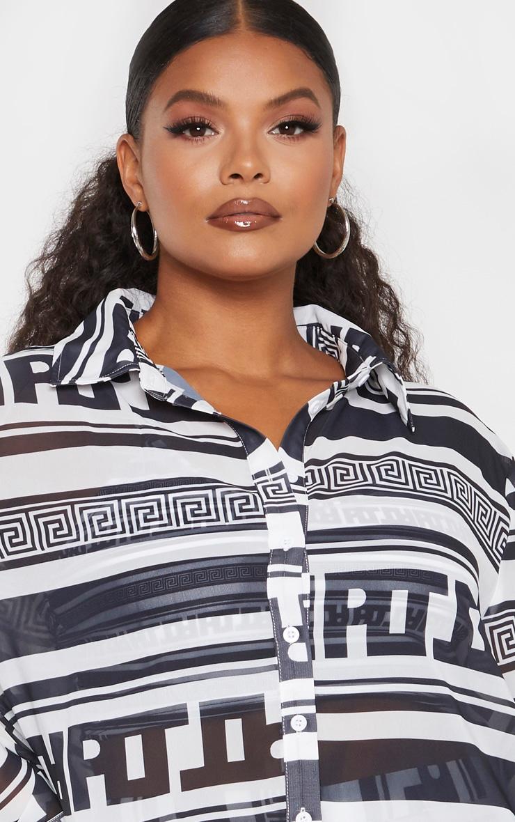 PLT Plus Monochrome Greek Stripe Oversized Beach Shirt 5