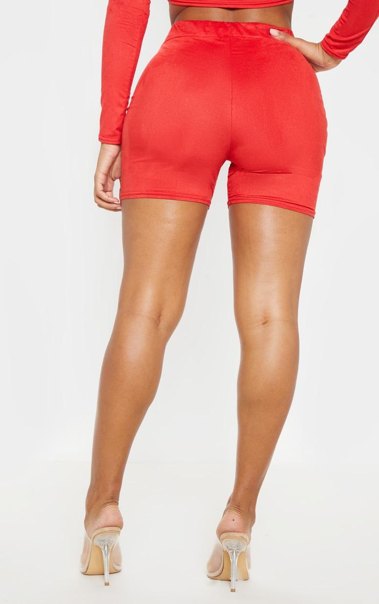 Shape Red Faux Suede Bike Shorts 4