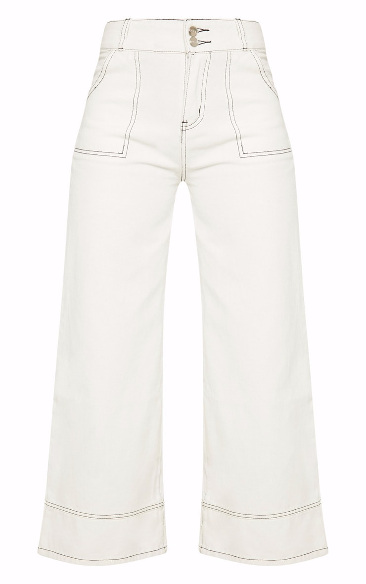 White High Waisted Denim Crop Flares 3