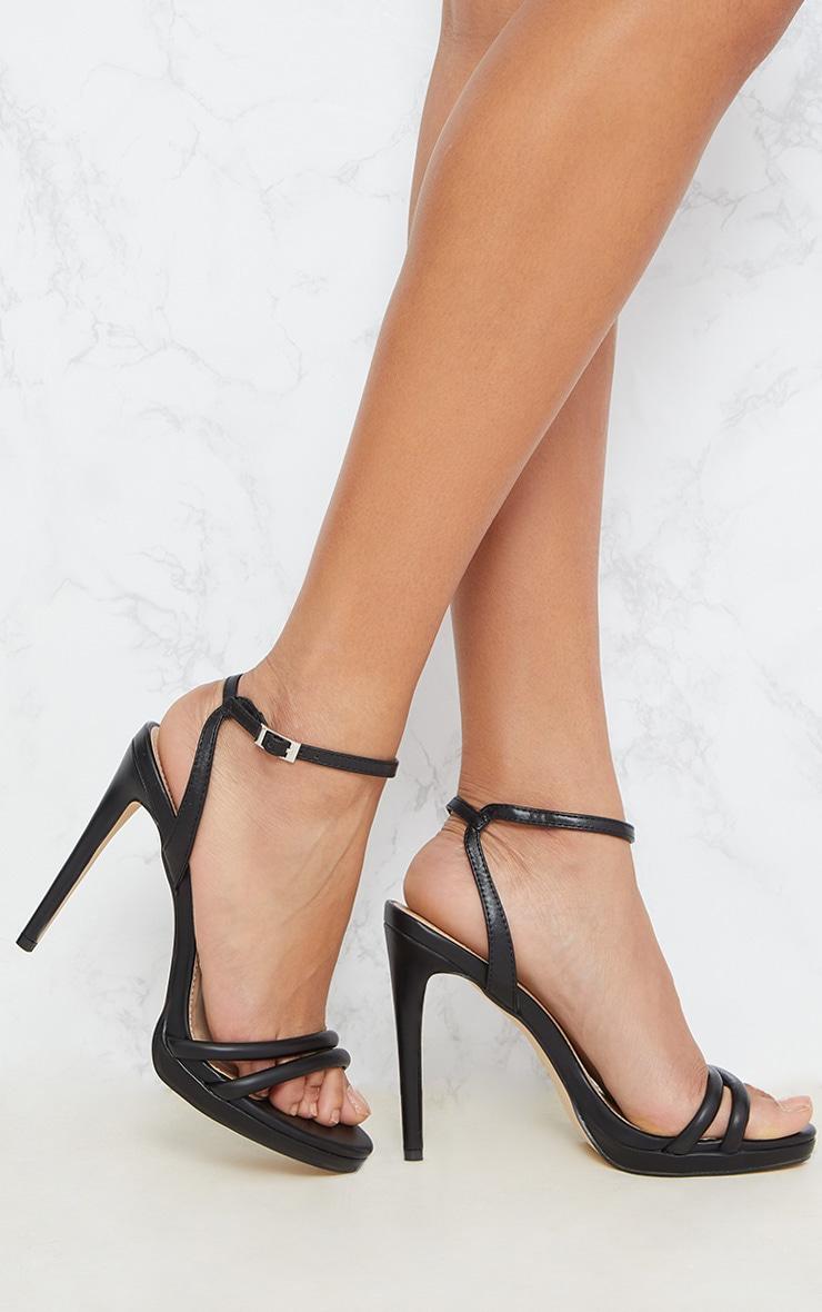 Black Double Strap Platform Sandal 1