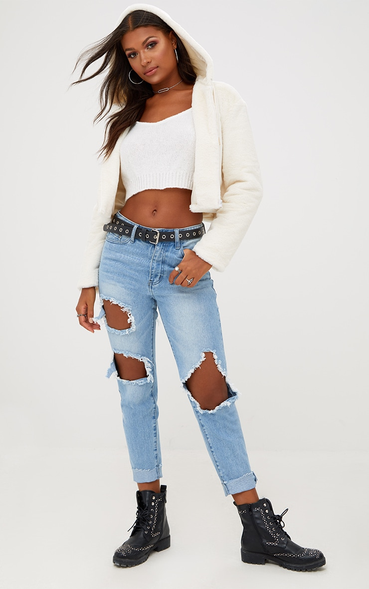 Cream Cropped  Faux Fur Jacket With Hood 3