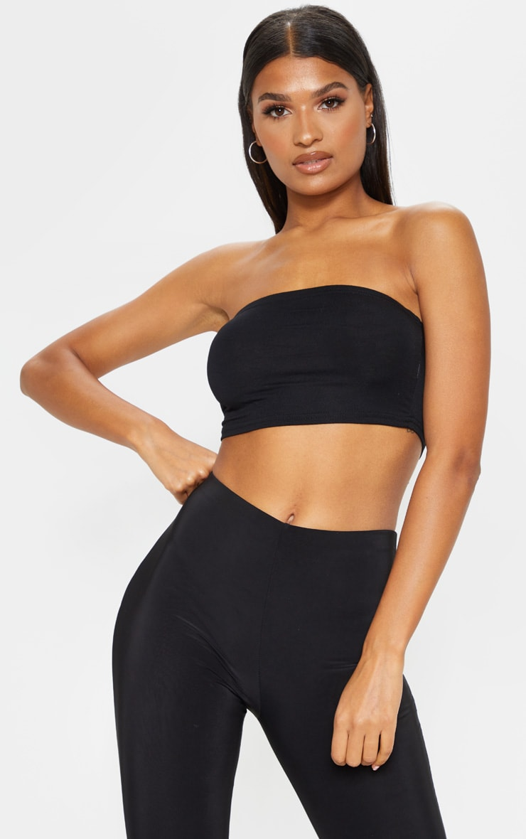 Basic Black Jersey Bandeau Top 1