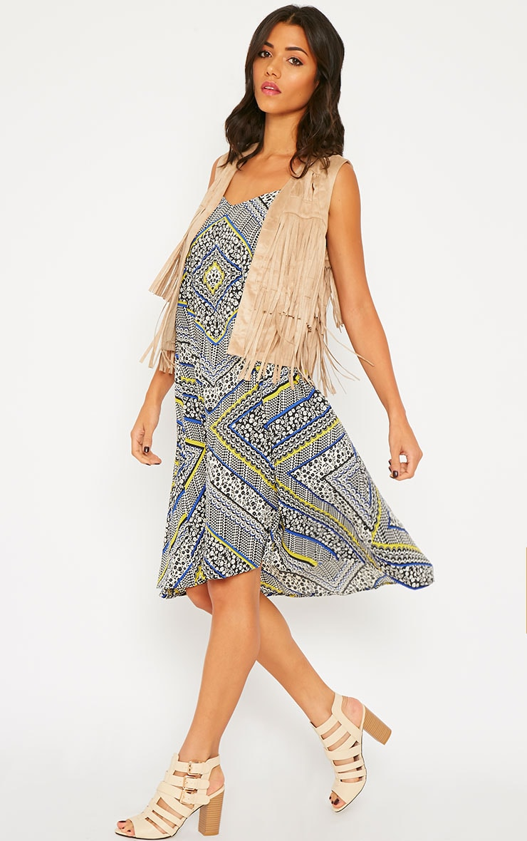 Telina Printed Plaited Strap Swing Dress 4