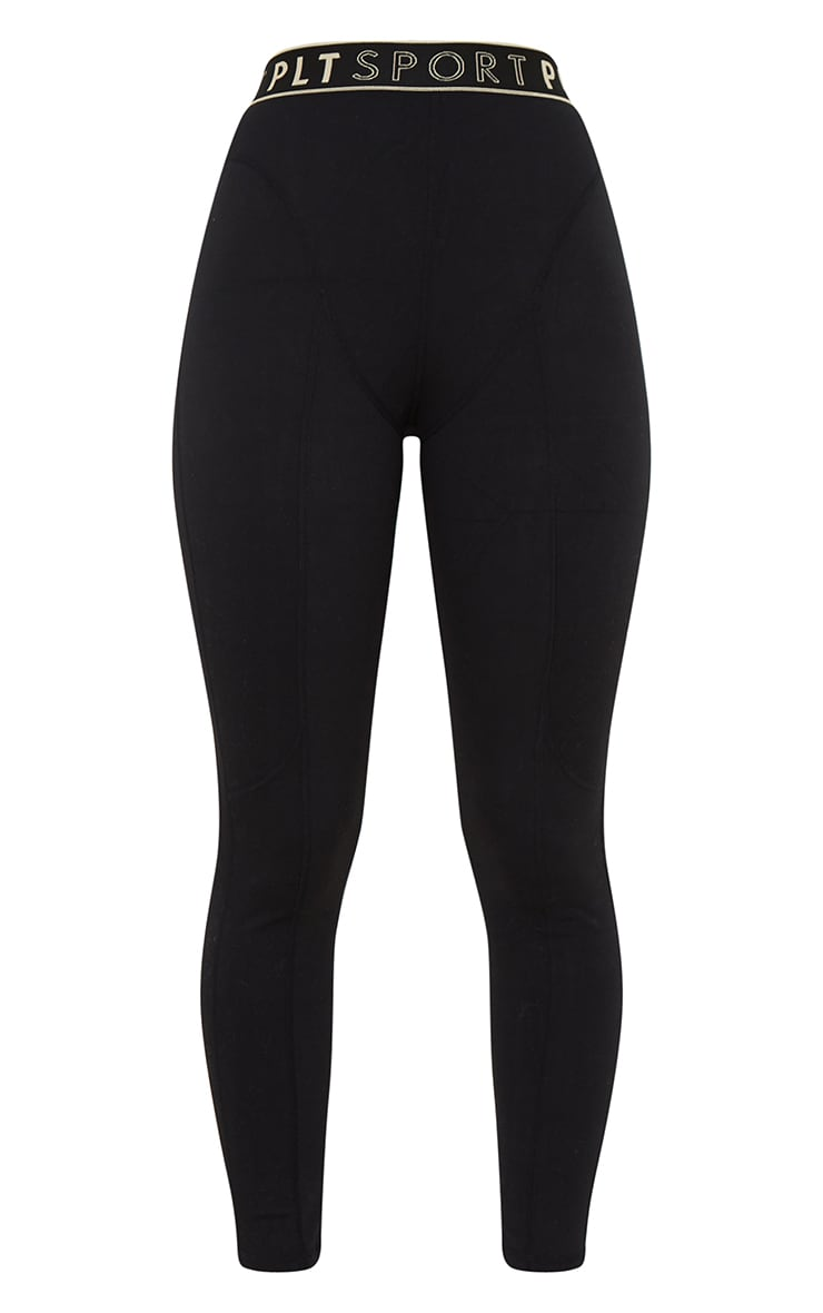 PRETTYLITTLETHING Black Sculpt Luxe Stitch High Waist Detail Gym Leggings 5