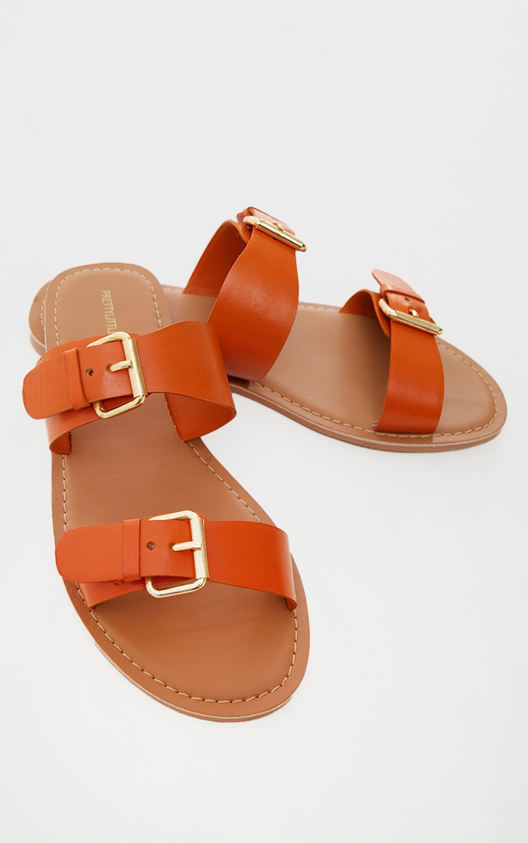 Burnt Orange Wide Fit Real Leather Buckle Detail Double Strap Mule Sandals 3