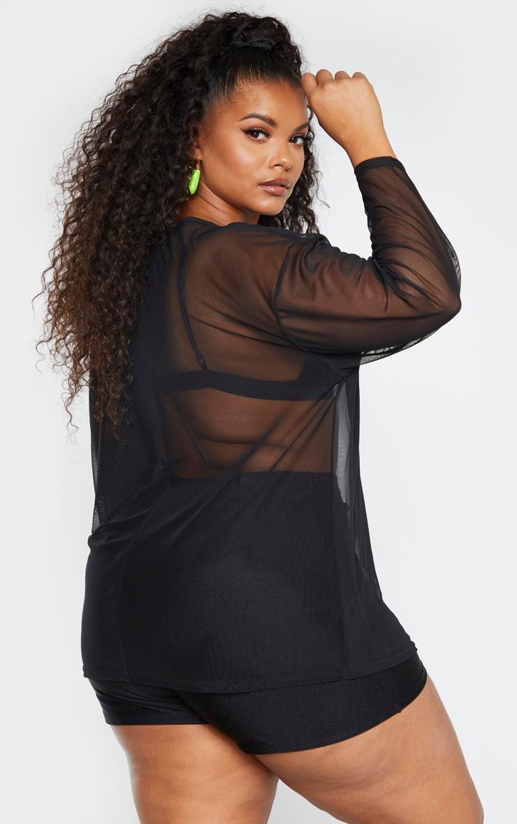 Plus Black Sheer Mesh Long Sleeve Oversized T-Shirt 2