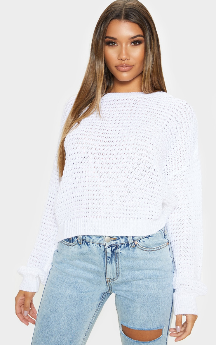 White Fisherman Knitted Jumper 1