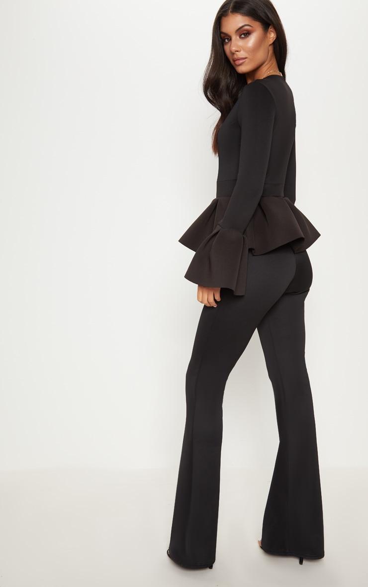 Black Frill Sleeve Peplum Jumpsuit 2