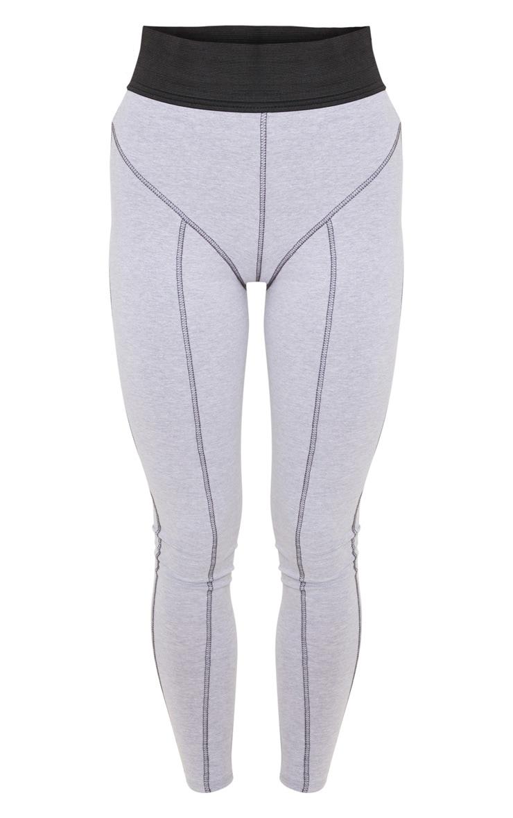 Grey Elasticated Waist Contrast Stitch Legging 3