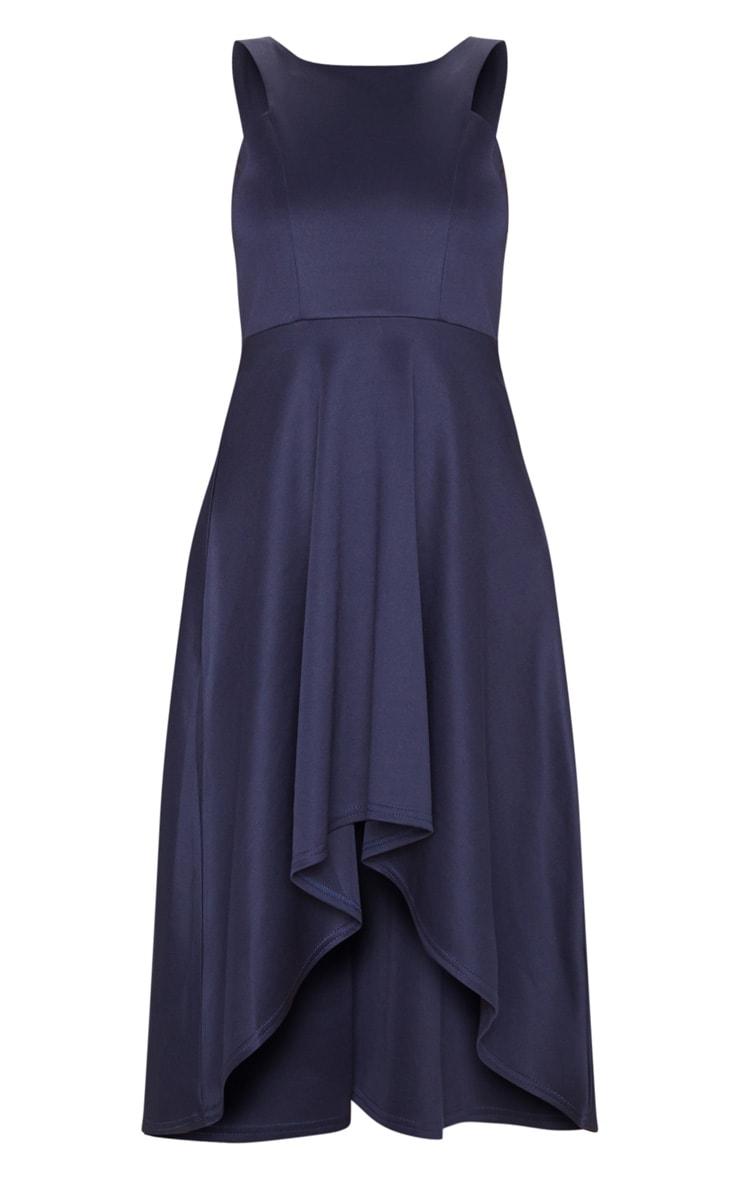 Midnight Blue Scuba Sleeveless Drop Hem Midi Dress 3