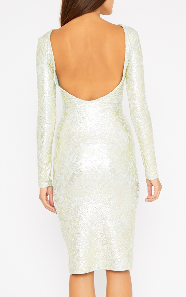 Moxie Mint Gold Foil Split Midi Dress 2