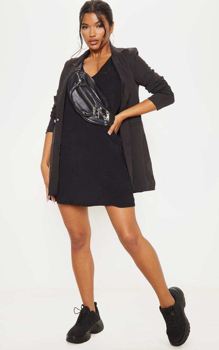 Black Jersey V Plunge Sleeveless Shift Dress  4
