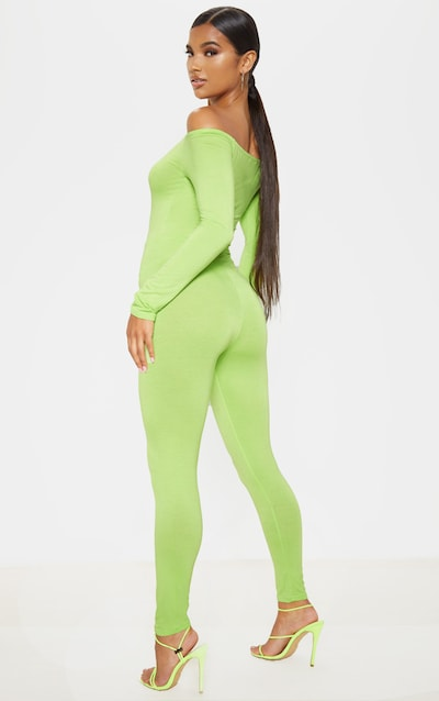 Lime Bardot Long Sleeve Jumpsuit