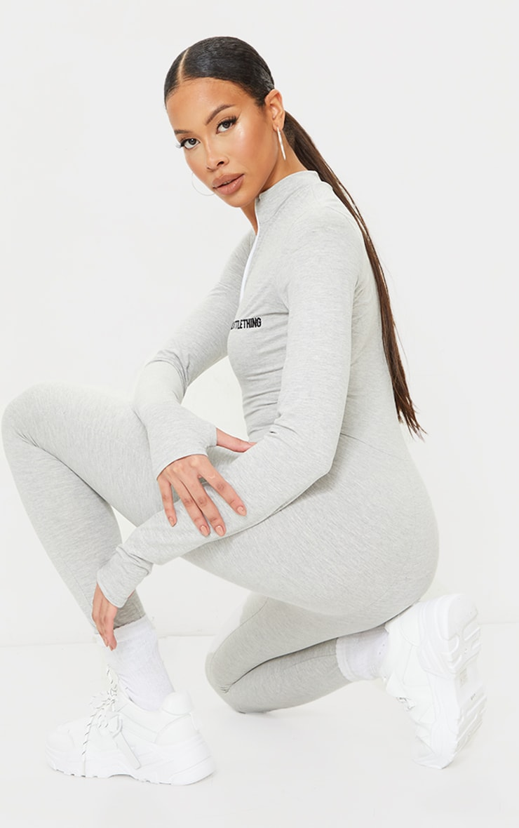 PRETTYLITTETHING Tall Grey Embroidered Zip Front Jumpsuit 2