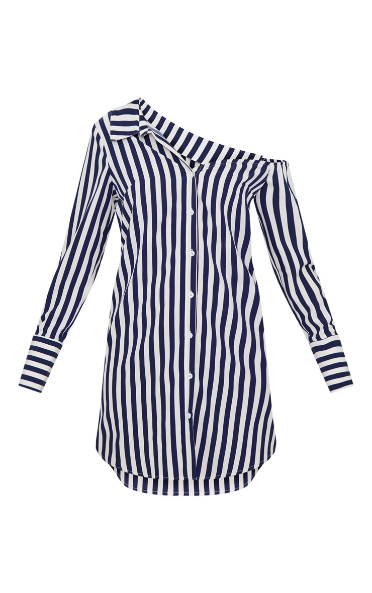 Navy Striped Off the Shoulder Shirt Dress 4