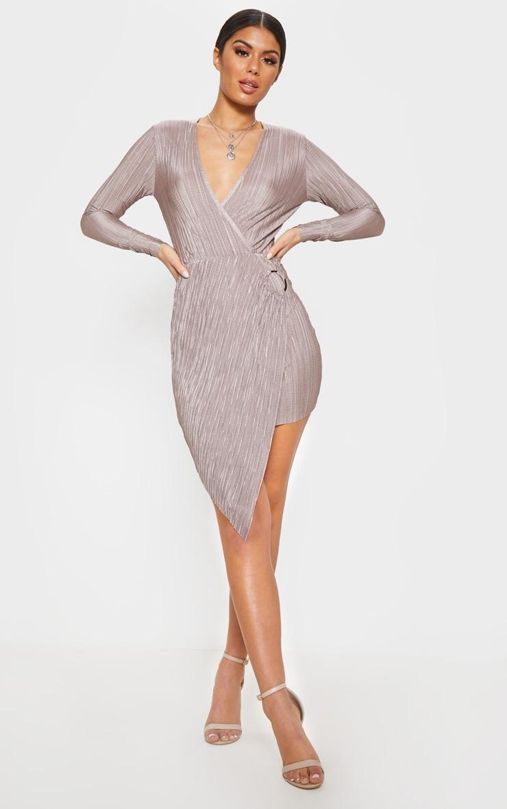 Mocha Plisse Ring Detail Wrap Bodycon Dress 3