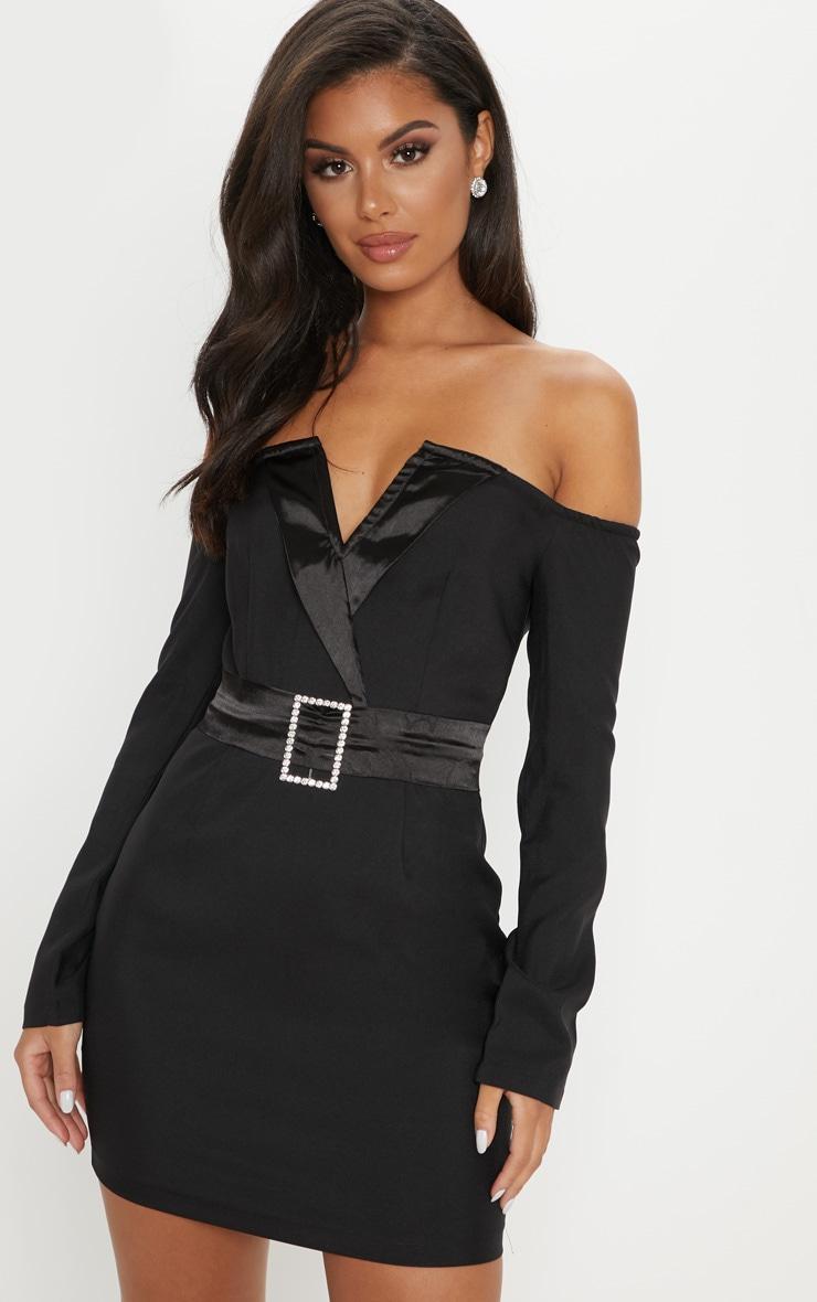 7e107c34abf4 Shoptagr | Black Satin Insert Diamante Blazer Dress by Prettylittlething