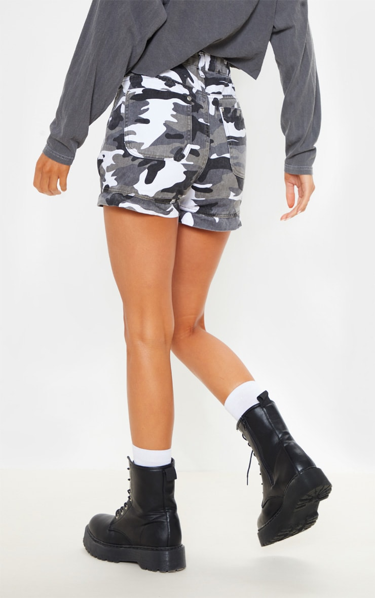 Grey Camo Utility Stitched Detail Denim Shorts 4