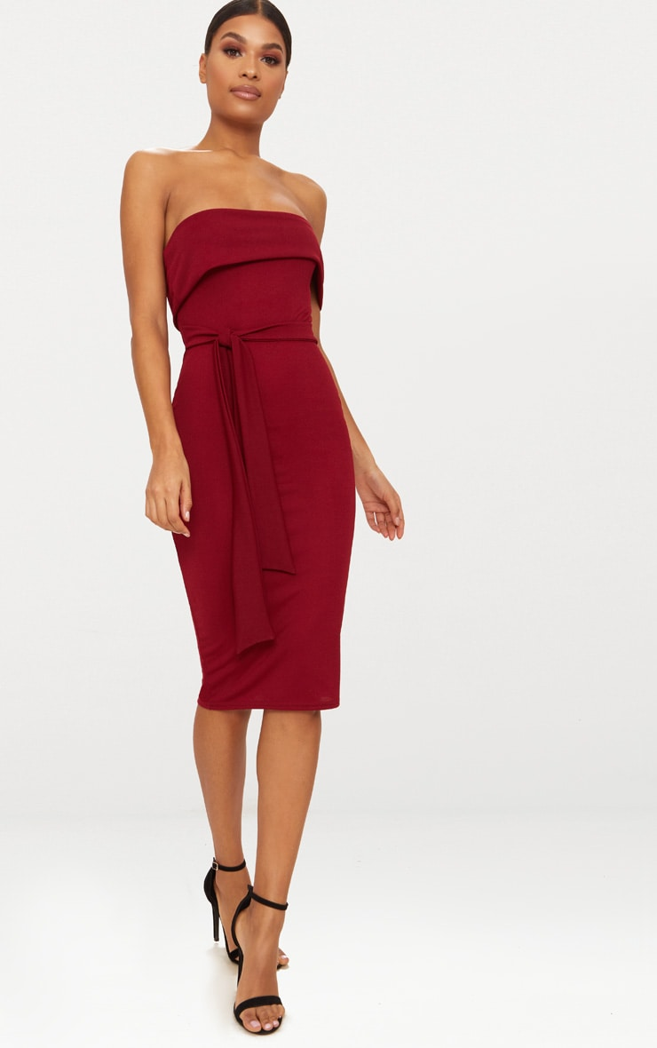 Burgundy One Shoulder Bardot Tie Detail Midi Dress 4
