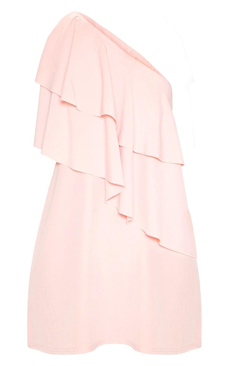 Dusty Rose One Shoulder Ruffle Detail Shift Dress 3