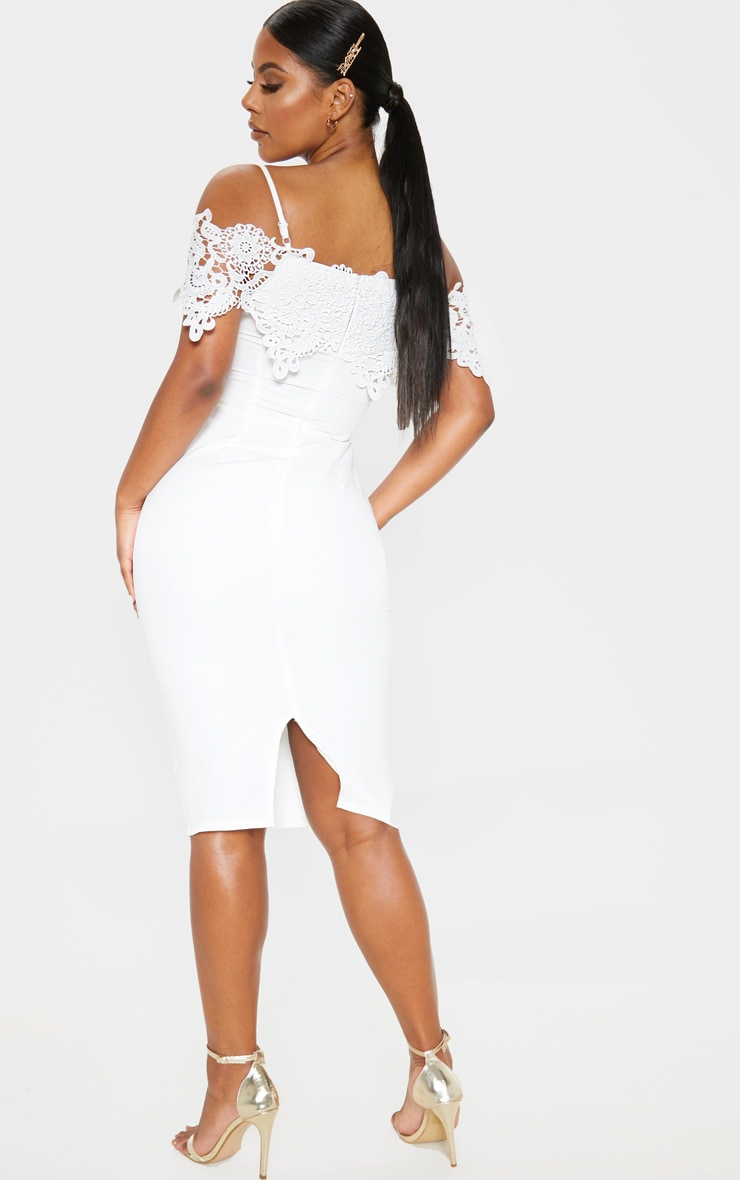 White Lace Cami Cold Shoulder Bodycon Midi Dress 2