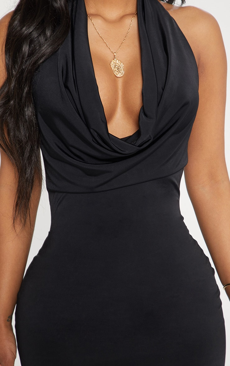 Shape Black Slinky Cowl Neck Midi Dress 5