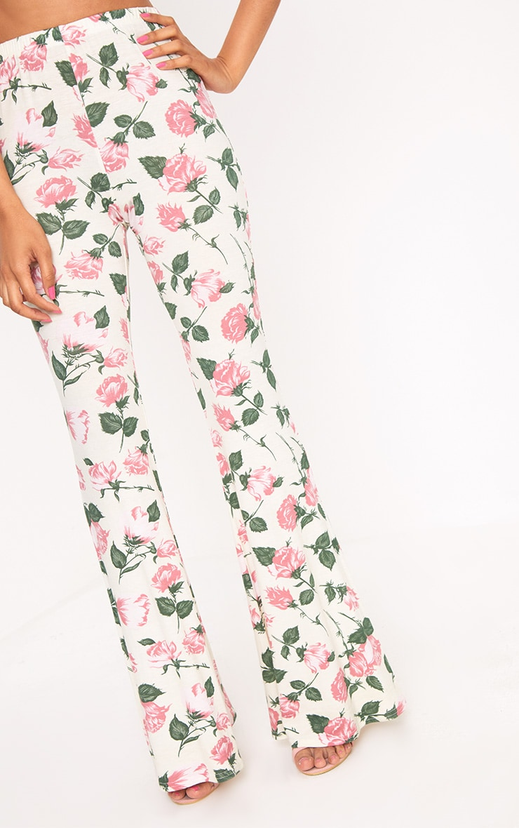 Stone Floral Print Jersey Flared Trousers 5