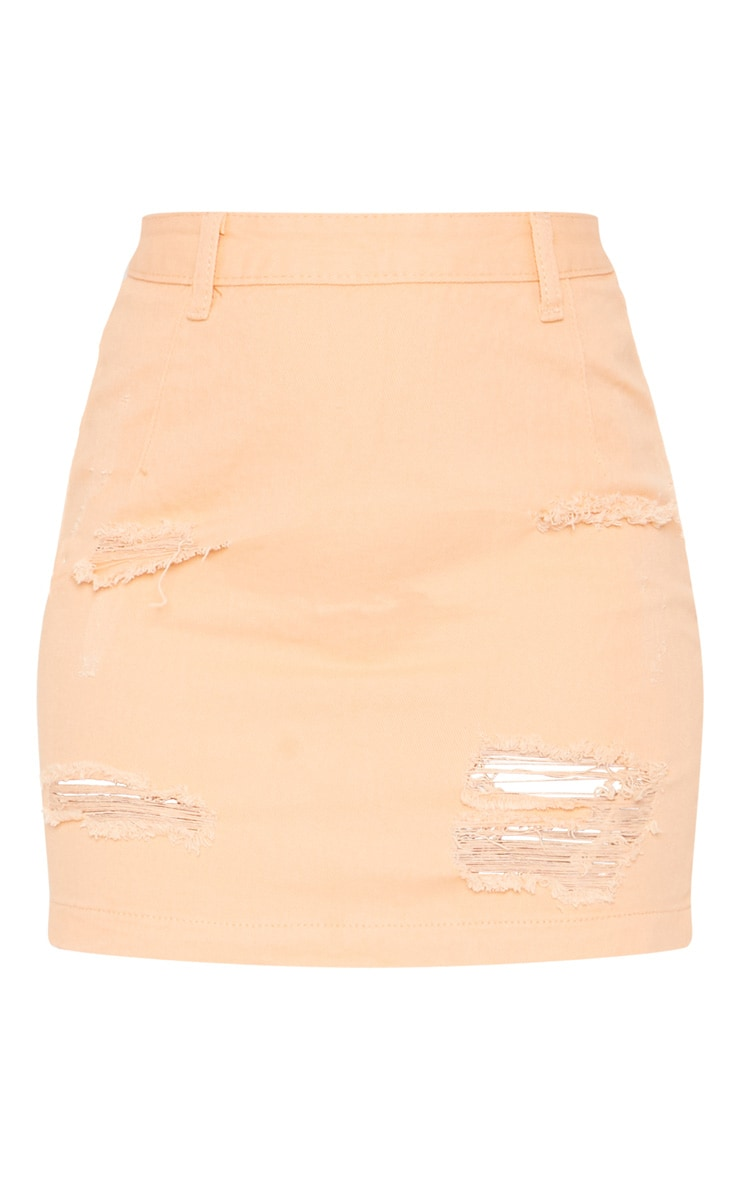 Peach Super Distress High Waisted Denim Mini Skirt 3
