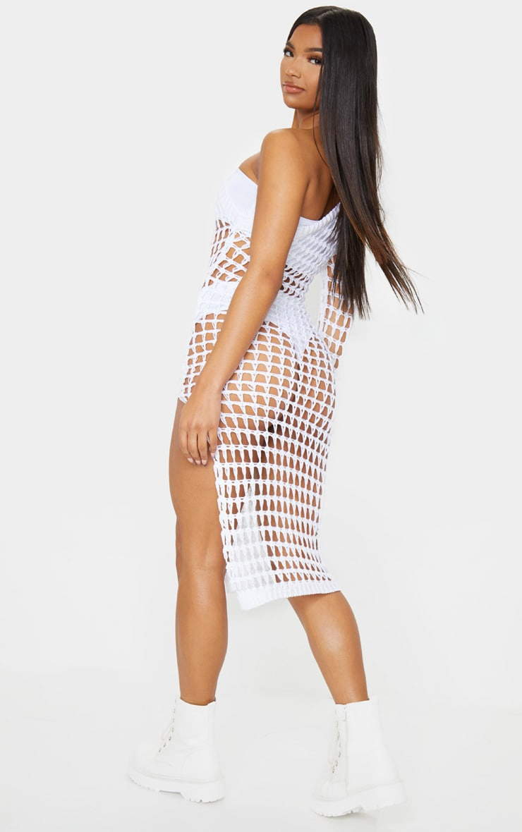White Ladder Crochet Asymmetric Dress 2