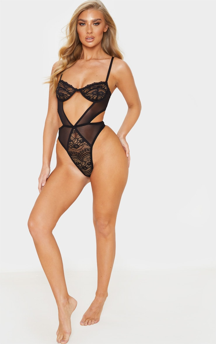 Black Cut Out Panels Lace Mesh Underwired Body 5