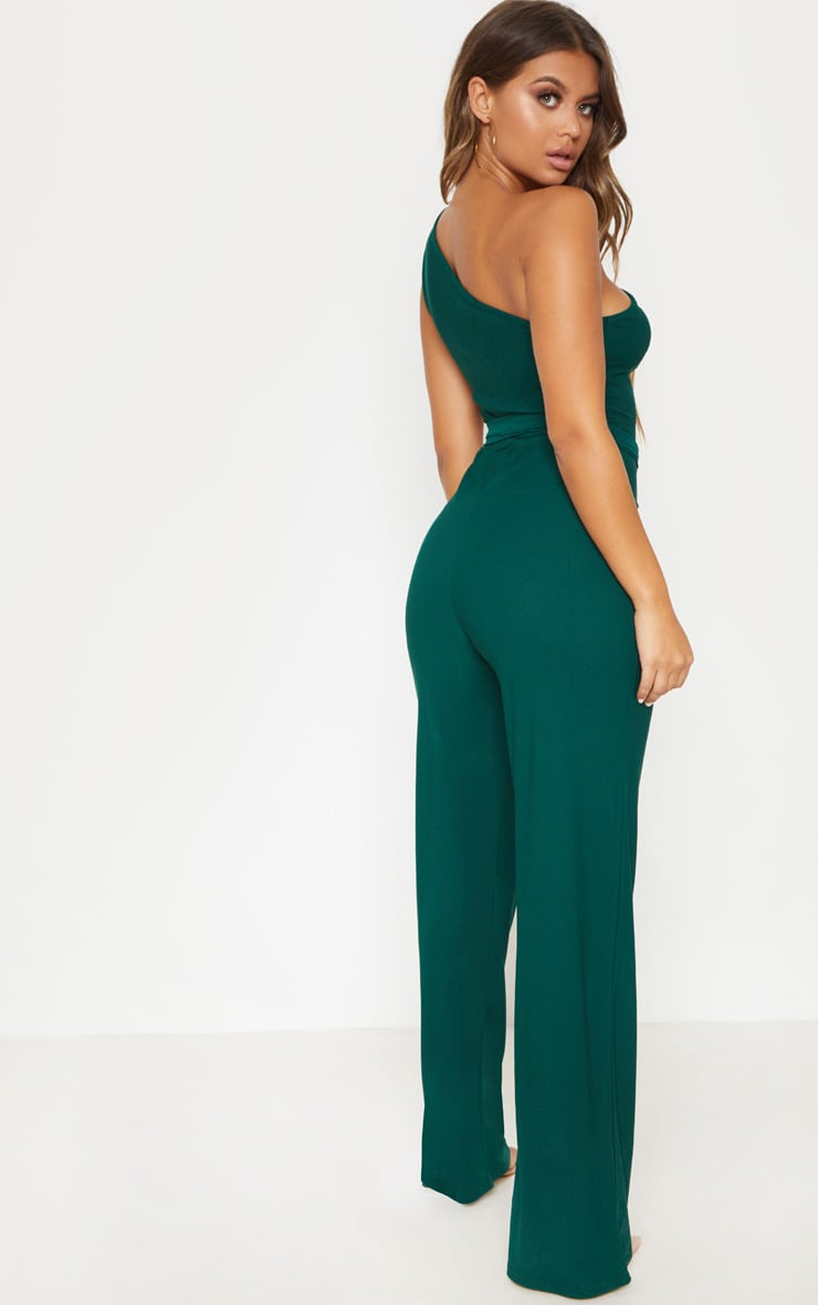 Emerald Green One Shoulder Tie Waist Jumpsuit 2