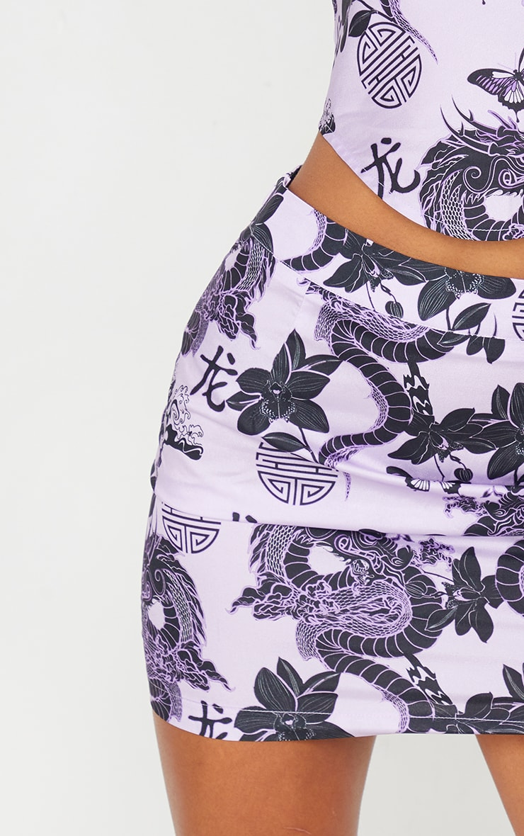 Purple Dragon Print Satin Mini Skirt 5