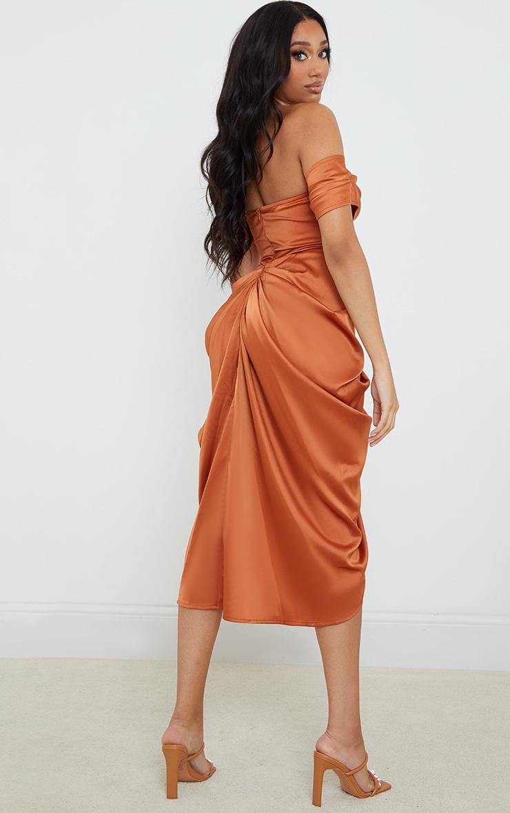 Copper Satin Draped Bardot Midi Dress 2