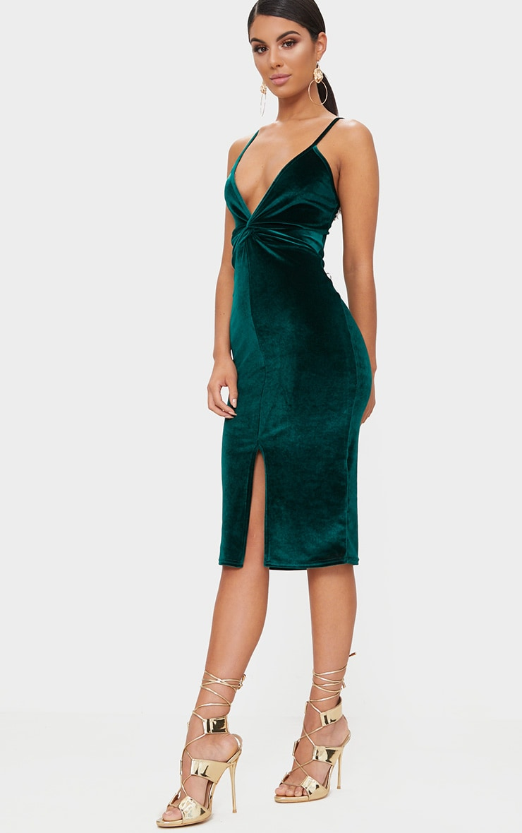 Emerald Green Velvet Plunge Twist Front Midi Dress 4